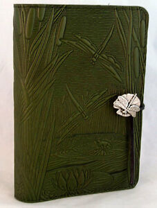 DRAGONFLY-POND-Oberon-Design-Leather-Journal-5-x7-Small-fern-green-cover