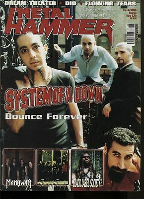 METAL HAMMER 3/2002 SYSTEM OF A DOWN MANOWAR BLACK LABEL SOCIETY DREAM THEATER