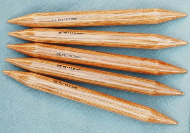 "Surina Wood 9"" Double Point Knitting Needles Size 17 19"