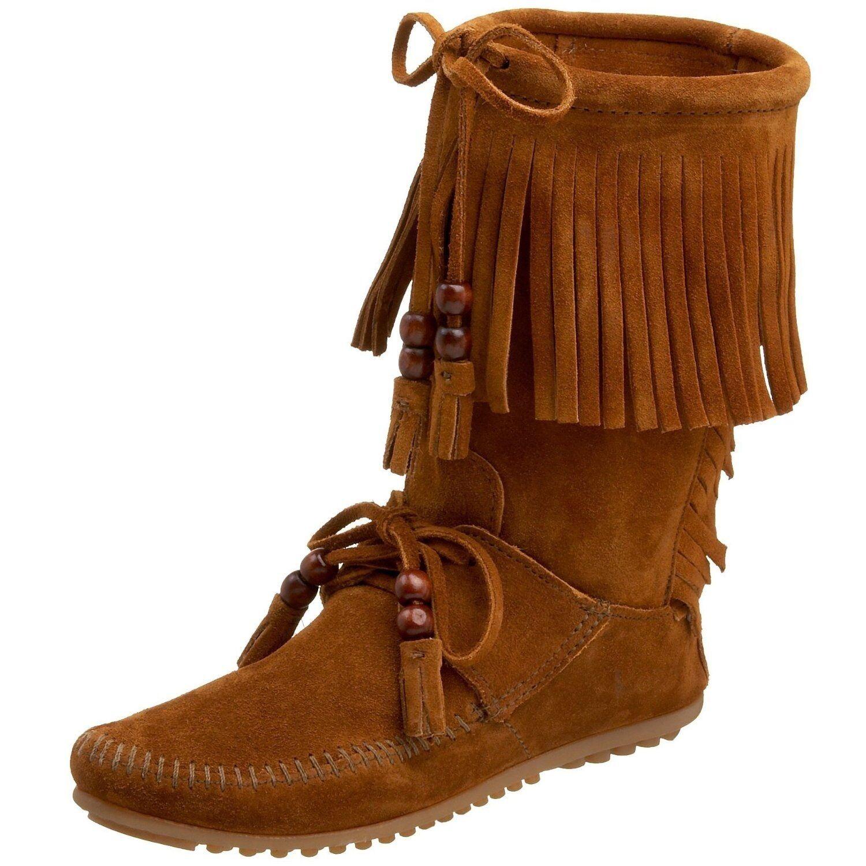 NEW WOMEN'S MINNETONKA MOCCASINS BROWN Stiefel SUEDE WOODSTOCK HOBO FRINGE Stiefel BROWN 1662 6054a2