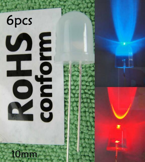 6pc Red/Blue Flash Flashing Diffused 10mm 3v-6v-9v-12v LED + free resistor,RB10D