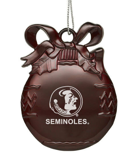 Florida State University  - Pewter Christmas Tree Ornament - Burgundy