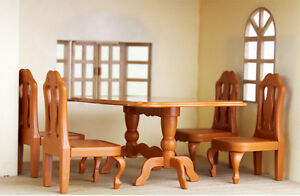 Miniature-Doll-House-Furnitures-Dining-Table-with-4-Chair-for-Sylvanian-Families