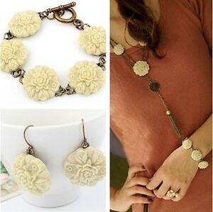 Fashion-Vintage-Carving-Flower-Tassels-Necklace-Bracelet-Earring-Jewelry-Set-NEW