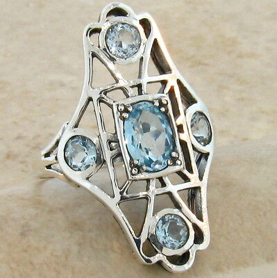 GENUINE  SKY BLUE TOPAZ ANTIQUE VICTORIAN STYLE .925 SILVER RING SIZE 9, #442
