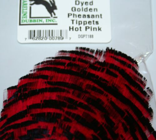 Fly Tying Hareline Dyed Golden Pheasant Tippets vibrant colours wet fly tails