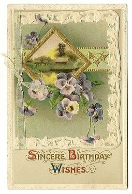 ANTIQUE NOVELTY BIRTHDAY GREETINGS POSTCARD PURPLE WHITE PANSY FLOWERS HOUSE