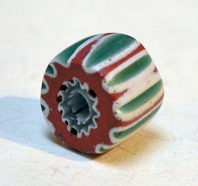 Rare Antique Venetian Seven Layer Green Chevron Italian Glass Bead African Trade