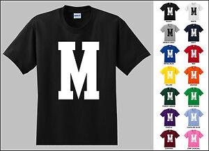 Capital letter m alphabet t shirt ebay for Cute greek letter shirts