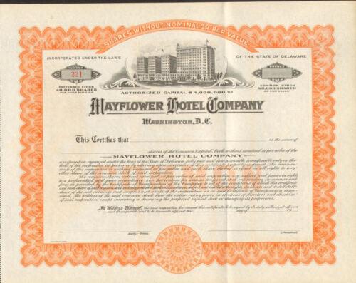 Mayflower Hotel Company Washington DC stock certificate