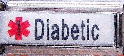 New Diabetic Medical Alert Curved Super Link Italian Charm Free Medical ID Card