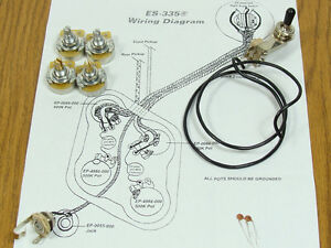 humbucker wiring diagram 335 new es-335 pots switch & wiring kit for gibson guitar ... pots diagram 335