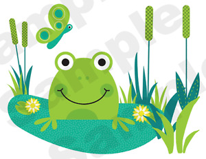 FROGS-FROGGY-TURTLE-BUTTERFLY-DRAGONFLY-BABY-NURSERY-WALL-BORDER-STICKERS-DECALS