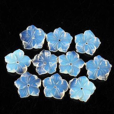 g0015 15mm 10pcs of carved opalite flower beads
