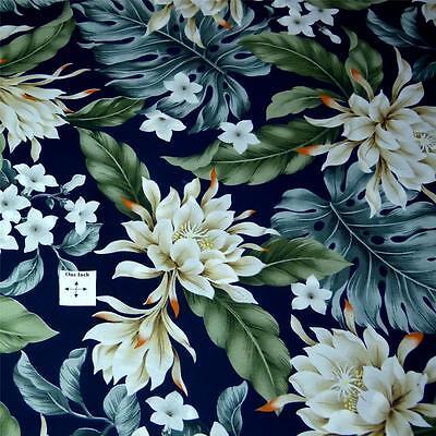 Hawaiian Print Cotton Fabric Per Yard, Monstera & Ivory Awapuhi Ke'oke'o on Navy