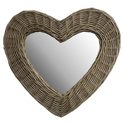 dotcomgiftshop WICKER HEART MIRROR. NATURAL HEART WALL MIRROR HOME DECORATION