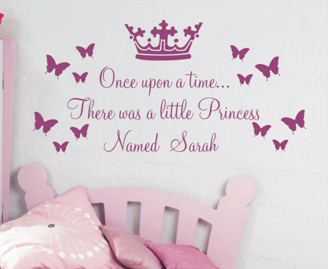 Personalised Once upon a time Princess quote wall sticker, Girls bedrooms - pou5
