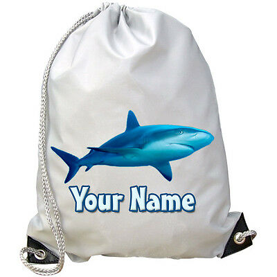 SHARK PERSONALISED GYM / PE /  SWIMMING BAG -GREAT GIFT 4 KIDS & NAMED TOO