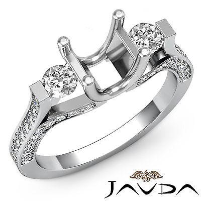 Genuine Round Diamond Three Stone Engagement Ring 14k White Gold Semi Mount 1Ct