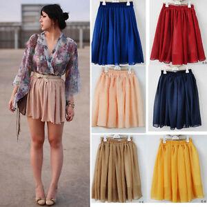 Fashion-Retro-High-waist-Pleated-double-layer-chiffon-Short-Mini-Pompon-Dress