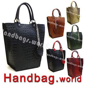 New-Genuine-Italian-Croc-Print-Real-Leather-Handbag-Tote-Satchel-Bag-Italy