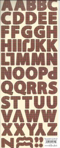 RED HOUNDSTOOTH Alphabet Scrapbook Stickers