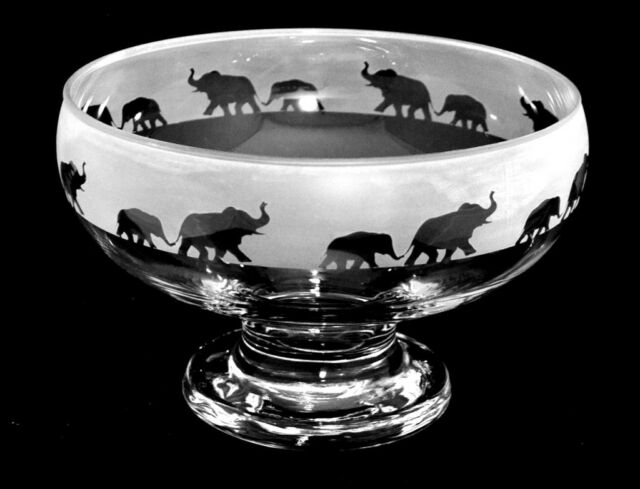 *ELEPHANT GIFT*  FOOTED GLASS BOWL with ELEPHANT FRIEZE