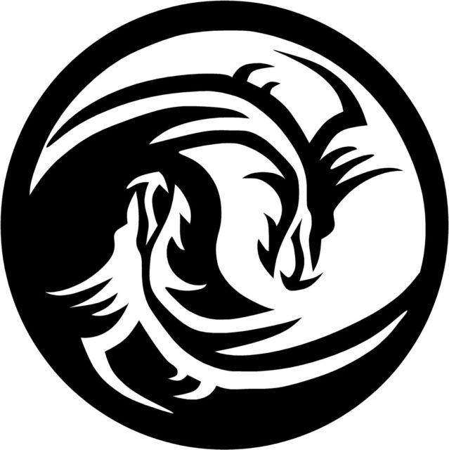 "Dragon Yin Yang Decal    3.75"" select your color!"