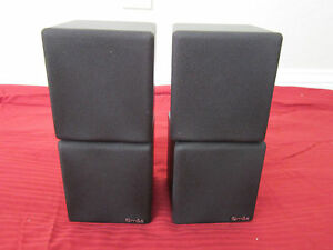NEW-2-Dual-Cube-Speakers-Home-Theater-Rear-Black-Surround-Sound-Stereo-Pair