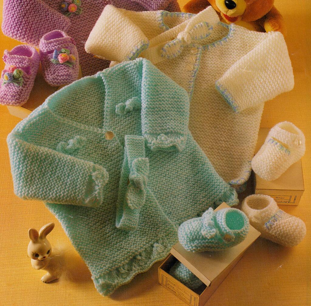 "159 PREM BABY GIRL 12 mths COAT SHOES Knitting Pattern 4 PLY 14-20/"""
