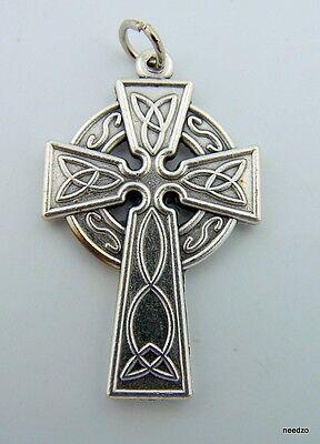 "Silver Gilded Ornate Celtic Design Pectoral Cross Irish Heritage Gift 1 1/4"""