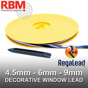 REGALEAD-9mm-X-50mtr-SELF-ADHESIVE-OVAL-WINDOW-LEAD-NATURAL-ANTIQUE-amp-WHITE