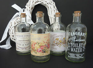 FRENCH-STYLE-GLASS-BOTTLES-CORK-VINTAGE-CHIC-PERFUME-SOAP-BUBBLE-BATH-WEDDING