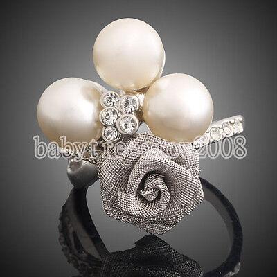 18K White Gold GP Swarovski Crystal Pearl Flower Cocktail Ring M216