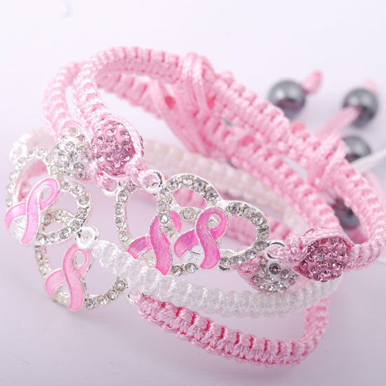 clear crystal pave pink ribbon breast cancer awareness connector ball bracelet