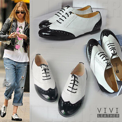 Real Sheepskin Leather Black Vintage Lace-up English Oxfords Shoes Flat Brogue