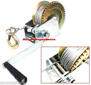 2000-lbs-Hand-Steel-Cable-Winch-For-Boat-Trailer-New