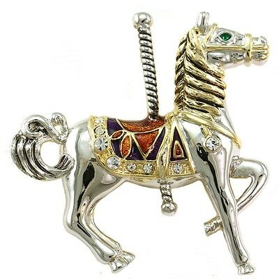 Carousel Merry-Go-Round Horse Pin Brooch High Polish Silver Tone Costume Jewelry