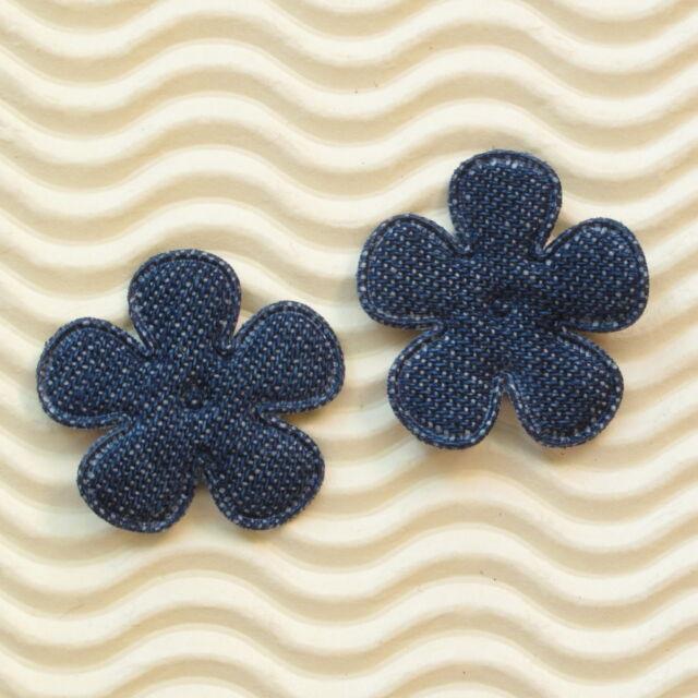 "US SELLER - 60 pcs x 1"" Padded Blue Denim Spring Flower Appliques for Bows ST557"