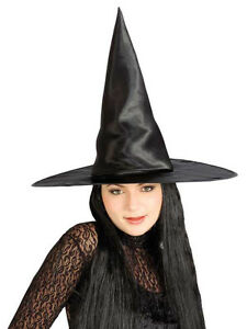 Satin-Witch-Hat-w-Hair-Black-Gothic-Dress-Up-Halloween-Adult-Costume-Accessory