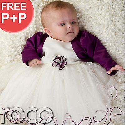 Baby Girls Purple Ivory Dress Bolero Jacket Wedding Babys Bridesmaid Dresses