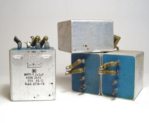 4x MKT-Kondensator 2+2 µF / 250 V, Doppel-C für Lautsprecher Frequenzweichen