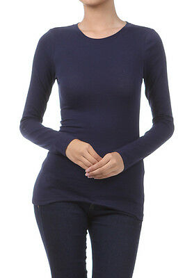 Basic Long Sleeve Solid Top T-Shirt Stretch Tight Fit Crew Neck Junior Women