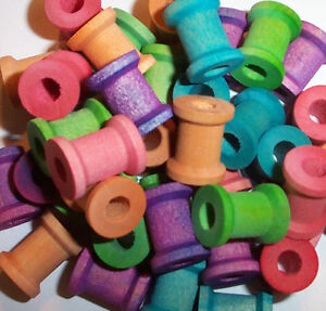40pc-5-8-034-Wood-Spools-Parrot-Bird-Toy-Craft-Parts-W-Hole-NEW
