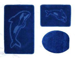 badgarnitur 3 teilig badvorleger duschvorler wc bezug f h nge wc in blau ebay. Black Bedroom Furniture Sets. Home Design Ideas