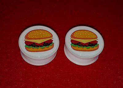 "New Acrylic Single Flared "" Cheese Burger "" Logo Plugs.( 2 Gauge to 1"" inch)"