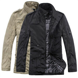 Men Military Outerwear Jacket Coat COOL Parka Cotton Padded Black ...