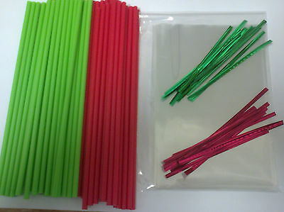 "50 x 190mm 7.5"" RED & GREEN CHRISTMAS CAKE POP LOLLIPOP KIT & BAGS & TWIST TIE"