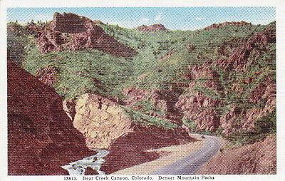 BEAR CREEK CANYON DENVER COLORADO MOUNTAIN PARKS - Vintage LINEN POSTCARD
