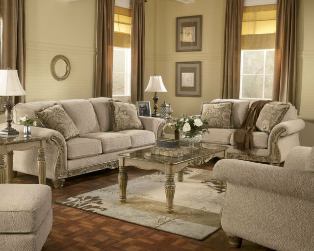 SALINAS-TRADITIONAL BEIGE FABRIC WOOD TRIM SOFA COUCH SET LIVING ROOM FURNITURE